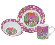 United Labels 0116575 - Vajilla de 3 piezas con diseño de unicornios, 1 plato, 1 cuenco y 1 taza para el desayuno, color rosa