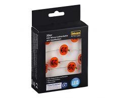 Idena LED cadena de luces con 20 pequeñas Halloween calabaza Smiley, hierro, multicolor, 125 x 1 x 1 cm