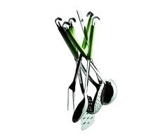 Mepra Fantasia - Juego de utensilios de cocina con gancho (acero inoxidable, 6 piezas), color verde