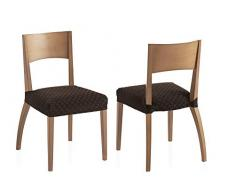 Pack Dos Fundas elásticas sillas Olivia - Color Marrón - Tamaño (45 x 45 cm)