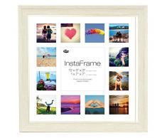 Inov8 16 x 40,64 cm Insta-Frame Mosaico de Marcos de Fotos para Instagram 13/Cuadrado Fotos con paspartú Blanco y Blanco con Borde, 2 Unidades, se Debe Lavar a Gris Claro