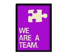 LO+DEMODA HCN2111-87 - Cuadro con marco, diseño We are a team, 33 x 43 cm, multicolor