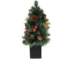 WeRChristmas - Árbol de Navidad decorativo con adornos (37 cm, maceta dorada), color rojo y dorado
