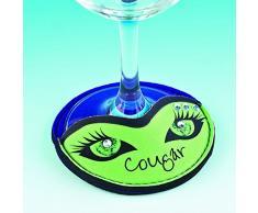 Boxer Gifts Cougar - Funda para base de copas de vino, diseño de ojos
