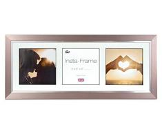 Inov8 21 x 20,32 cm Insta-Frame Marco para Instagram 3/de Estampado a Cuadros de Fotos con paspartú Blanco y Blanco con Borde, Peltre con Borde Plateado