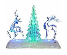 WeRChristmas Pre-Lit LED que cambia de color árbol de Navidad Musical y reno Escena Decoración, Plástico, Multicolor, 24 cm