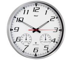 Mebus 52661 - Reloj de pared (AA, 1.5V, Plata, Color blanco, Aluminio, Vidrio, 35 cm)