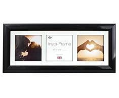 Inov8 21 x 20,32 cm Insta-Frame Marco para Instagram 3/de estampado a cuadros de fotos con paspartú blanco y blanco con borde, 2 unidades, acabado negro brillante