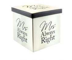 Leonardo LP27684 - Caja plegable de almacenamiento, diseño con texto en inglés Mrs Always Right