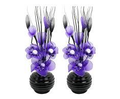 Flourish 796167 - Jarrón ovalado con flores artificiales de seda, 75 cm, vidrio, Pair of Black/Purple, 10x10x32 cm