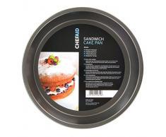 Chef Aid Molde para tartas con base fija, color negro