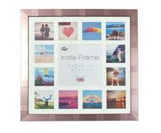 Inov8 16 x 40,64 cm Insta-Frame Marco para Instagram 13/de estampado a cuadros de fotos con paspartú blanco y blanco con borde, plateado