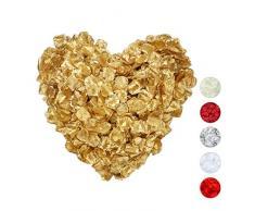 Relaxdays Pétalos de Rosa, Pack de 3000, Flores Artificiales, Decoración Boda, San Valentín, Tela, 5 x 5 cm, Dorado, Tejido, 1 Set