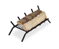 Relaxdays Parrilla para Chimenea, Rectangular, Acero, Resistente, Cesta con pies, 16x58x28 cm, Negro