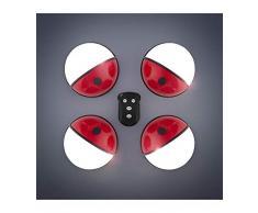 Presence Light Pockelamp Foco LED Portátiles con Mando, Rojo y Blanco, 4 Unidades