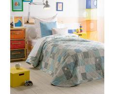 Sancarlos MANZANA- Colcha Bouti infantil, Color Azul, Cama de 90 cm