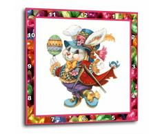 3dRose Reloj de Pared de Conejo de Pascua, Aluminio, 13 x 13 Pulgadas