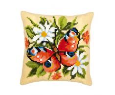 Vervaco, PN-0008587, almohada kit de punto de cruz, la razón: la mariposa, Multi (Multicolor)