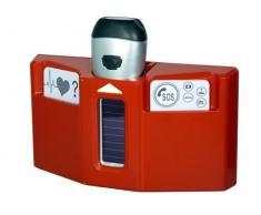 Powerplus Husky dinamo linterna de emergencia estación, acero, color rojo