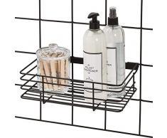 iDesign Cesta colgante para sistema modular, gran estante de pared de metal para cocina, baño y oficina, cesto organizador para su correspondiente rejilla de pared, negro mate