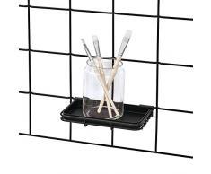 iDesign Estante adicional para sistema modular, balda pequeña de metal para organizador colgante de cocina y oficina, portalápices o jabonera para rejilla de pared, negro mate