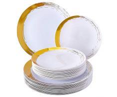 VAJILLA DESECHABLE BRUSHED   20 platos grandes   20 platos pequeños   Plástico resistente   Para bodas y cenas de lujo (Oro)