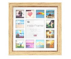 Inov8 16 x 40,64 cm Insta-Frame Marco de fotos para Instagram 13/de estampado a cuadros de fotos con paspartú blanco y negro con borde, crema