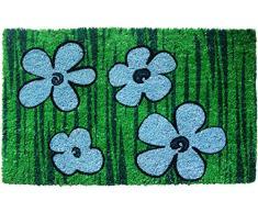 Entryways - Felpudo (43 x 71 cm, fibra de coco y revestimiento de PVC), diseño floral, color azul