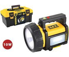 Stak Doomster Pro Master Foco LED Recargable CREE 700 lúmenes (10W). con Linterna, luz roja Lateral, Banco de energía. con Casete y revistas. IP44 e IK08, 10 W, Amarillo