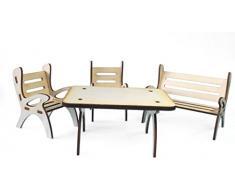 Petra s de manualidades (News a gmh06fs1 mesa Grupo, compuesto por 1 X mesa, 1 x jardín banco y 2 sillas de madera, 4 piezas)