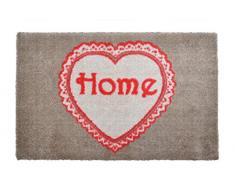 Alfombrilla LifeStyle 100116 1 Corazón, felpudo antideslizante y lavable, ideal para la entrada, el armario o la cocina, 40 x 60 cm, marrón / rojo