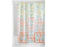 InterDesign Max Cortina de baño textil | Cortina para baño de 183 cm x 183 cm para bañera y plato de ducha | Cortina de ducha de diseño geométrico | Poliéster tonos pastel