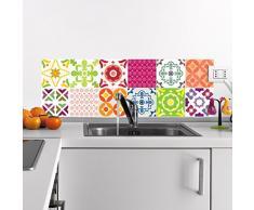 Ambiance-Live 12Pegatinas Adhesivos carrelages | Adhesivo Adhesivo Azulejos-Mosaico Azulejos de Pared de baño y Cocina | Azulejos Adhesiva-MULTICOULEUR-10x 10cm-12Piezas