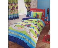 HOME-EXPRESSIONS Infantil edredón, diseño de excavadoras Juego de Cama, Azul Verde