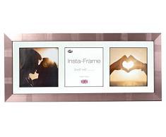 Inov8 21 x 20,32 cm Insta-Frame Marco para Instagram 3/de Estampado a Cuadros de Fotos con paspartú Blanco y Blanco con Borde, 2 Unidades, Plateado