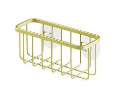 InterDesign - Gia - Canasto-organizador de lavabo con ventosas, para esponjas, estropajos, tapones de desagüe de fregadero - Oro perla