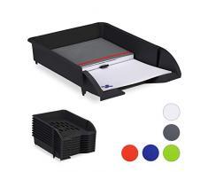 Relaxdays Set de Diez bandejas para Documentos, Apilable, Organizador para Escritorio, Plástico, Negro, 7 x 25 x 34 Cm