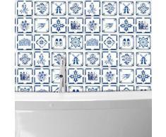 Walplus WT1528 -dutch Azul Azulejos Pared Stickers-15cm X 15 cm-24 Piezas …, Mezclado, 15CMX15CMX0.02CM