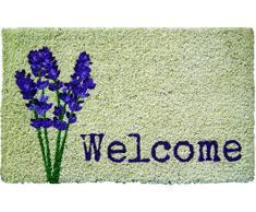 Entryways - Felpudo (45 x 75 cm, fibra de coco), diseño de flor de lavanda y mensaje Welcome