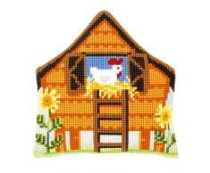 Vervaco - Kit para cojín de punto de cruz, diseño de gallinero, multicolor