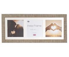Inov8 21 x 20,32 cm Insta-Frame Marco de fotos de madera para 3 Instagram/de estampado a cuadros de fotos con paspartú blanco y blanco con borde, 2 unidades, piedra