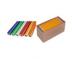CI metálico con Rollos de Papel de Regalo 6 Colores, 6 Unidades + AmazonBasics - Lápices n.º 2 HB de Madera, Afilados, Pack de 150