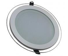 V-TAC 4759 - Luminaria de techo empotrable redonda led (cristal 18 W 6000 K luz blanca fría 1620 lm ángulo de dispersión de 120° 198 x 40 mm con fuente de alimentación no regulable VT-1881G RD)