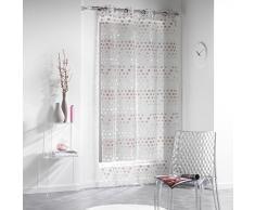 Douceur d Interieur 140 x 240 cm), diseño de flores, Jacquard Vitaly Anillos de cortina de organza, color marrón choco