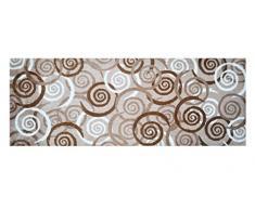 Alfombrilla LifeStyle 100383 Espirales, alfombra antideslizante y lavable, ideal para el armario, la cocina o el dormitorio, 67 x 170 cm, marrón / beis / blanco