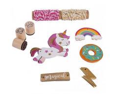 Rayher Juego de Regalo Colgante Unicorn, Tags + Cordón + Sellos, Papel, Multicolor, 16.5x 14x 3cm, 5Unidades de Medida