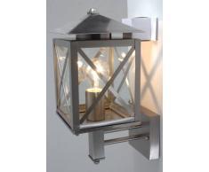 Näve Leuchten 118350 Castello - Lámpara de Pared para Exterior (no se Incluye Bombilla, 1 Casquillo E17, 60 W, Altura de 38 cm, Ancho de 15 cm, diámetro de 22 cm, Acero Inoxidable, Cristal y Metal)