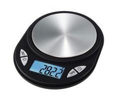 Xavax Jewel Báscula electrónica de cocina Negro Mesa Ovalado - Báscula de cocina (Báscula electrónica de cocina, 0,5 kg, 0,1 g, Negro, De plástico, Acero inoxidable, Mesa)