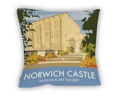 Dave Thompson Castillo de Norwich, Norfolk Impresión cojín, Multicolor