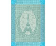 Garnier Thiebaut, Eiffel Vintage (Vintage Torre Eiffel) Celadón, 22 por 30,Francés Toalla de Cocina, 100% Algodón Trenzado Dos Capas Algodón, Fabricado en Francia